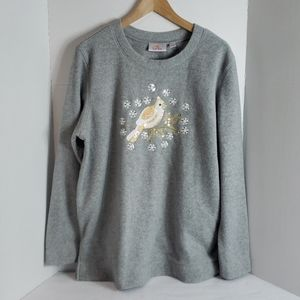 Quacker Factory Grey W/ Sequins Bird Sweater, L